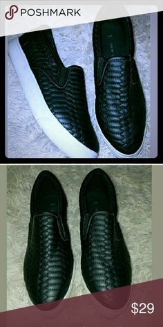 """Black quilted leather slip ons w white platform Ultra comfy and stylish looks like a designer shoes without the price tag. Has approx 1"""" platform. Brand ash for exposure. Sz 6/37 Ash Shoes Flats & Loafers"""