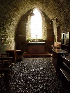 Inside St Illtyd's church, Caldey Island, Wales - Caldey (Welsh:Ynys Bŷr) is a small island off the SW coast of mainland Wales, near Tenby in Pembrokeshire. With a recorded history going back over 1500 years, it is known as one of Holy Islands of Britain.