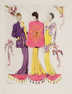 Elsa Schiaparelli > Illustration by Christian Bérard published in Vogue for the Cosmic collection, presented on August 4, 1938.