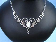 Sterling Wedding Necklace, Neckpiece, Elven Celtic Silver Jewelry Medieval Wedding Pendant - Ithildin Necklace