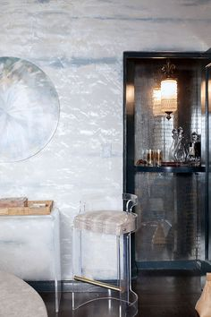 Horizontal Metallic Plaster Wall Treatment by artist Caroline Lizarraga