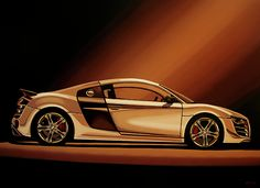 Realistic acrylic painting of the Audi R8, painted by the Dutch fine artist Paul Meijering - The Original painting is 90 x 120 cm and for sale