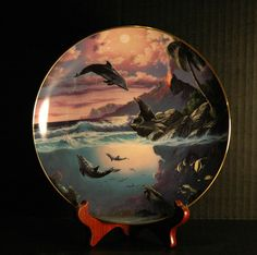 Sealed With A Kiss #1 Dolphins Sea Lions Bradford Exchange Dolphin Kisses Gold Trim Collector Plate