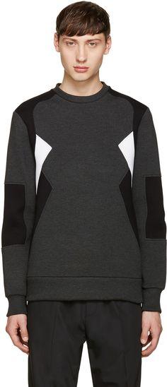 NEIL BARRETT Grey Retro Modernist Pullover. #neilbarrett #cloth #pullover