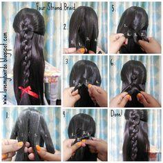 Four strand braid step by step