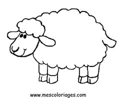 Sheep coloring page printable - another sheep template for name tags