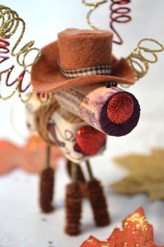 Wine Cork Reindeer Ornament_Cowboy by TheCorkForest on Etsy