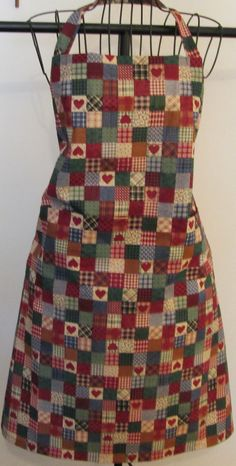Red Hearts Patchwork Squares Apron with Pockets by GlorysCloset
