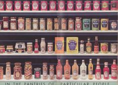 """The centerfold spread of """"The Heinz Salad Book"""", showing their 57 products. Check out some of the product names."""