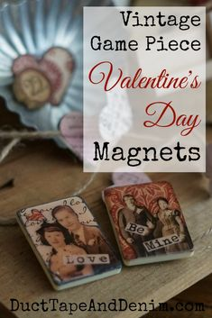 Use the pieces for crafts like these Valentine's Day game piece magnets from Scrabble, poker chips, and Rummikub tiles. Valentines Day Decorations, Valentine Day Crafts, Holiday Crafts, Valentine Ideas, Holiday Ideas, Upcycled Crafts, Diy And Crafts, Repurposed Items, Diy Craft Projects