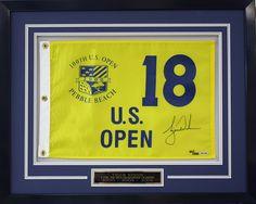 Pebble Beach US Open golf flag framed with engraved plaque. Designed and custom framed at Art & Frame Express in Edison, NJ. www.MyFramingStore.com