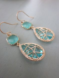 Aquamarine Blue Glass Earrings $38. Must repin because it's aquamarine (and rhyming) :'>