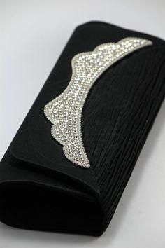 Black Raw Silk Clutch - 15.99