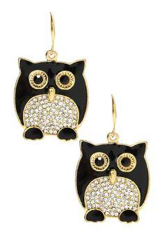 Chubby Owl Earrings by Black & White: Jewelry Trend on @HauteLook