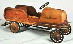 *PEDAL CAR ~ Woodie Soap Box Derby Cars, Soap Box Cars, Antique Toys, Vintage Toys, Custom Radio Flyer Wagon, Wooden Toy Cars, Convertible, Miniature Cars, Metal Toys