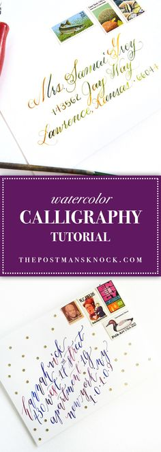 Learn how to create watercolor calligraphy in this detailed tutorial! It& easier than you think, and makes for beautiful lettering. Modern Calligraphy Alphabet, Calligraphy Lessons, Brush Pen Calligraphy, Calligraphy Tutorial, Calligraphy Signs, How To Write Calligraphy, Calligraphy Handwriting, Calligraphy Writing, Wedding Calligraphy