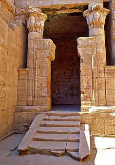 Interior of the Hathor Temple built during the Ptolemaic Stage in the old town of Deir el-Medina near the current Luxor. Ancient Egyptian Architecture, Ancient Egyptian Art, Ancient Ruins, Ancient History, Egyptian Mythology, Egyptian Goddess, European History, Ancient Artifacts, Ancient Greece