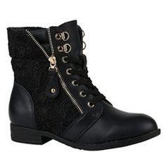 193a029cc168 Stylische Damen Stiefeletten Worker Boots Knöchelhohe Stiefel Gesteppt  Damen Leder-Optik Zipper Schuhe 144305 Schwarz