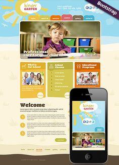 Kindergarten website template, Bootstrap design, responsive html website