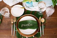 "{  TROPICAL LEAVES AND SEA GLASS WEDDING SHOOT  } From the event designer, Gianna of Chic Celebrations: ""The Lombardi House is one of our favorite new venues! Though it's in the heart of Hollywood, when you step onto the property, you are immediately transported to another time and place. We wanted to bring that feeling through this shoot. Oversized tropical greens were the perfect pop against the crisp white space."""
