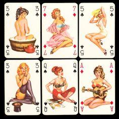 PIN UP Playing-Cards SPIELKARTEN KARTENSPIEL c.1960er Jahre PIN-UP Playing Cards
