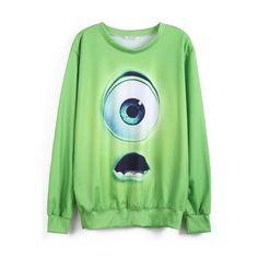 Green Monsters University Print Sweatshirt ($29) ❤ liked on Polyvore featuring tops, hoodies, sweatshirts, shirts, sweaters, galaxy print sweatshirt, green shirt, sweat shirts, galaxy shirt y shirts & tops