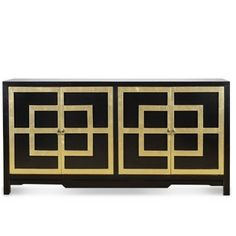 Dorothy Draper would have loved this fabulous black and gold buffet cabinet! Gold finish surrounds the Greek key door molding. This four door cabinet the is the perfect Chinoiserie addition to a bedroom or living space. This hand made and finished piece features brass hardware. Finish with a stunning lamp from our collection and our Greek key rug.