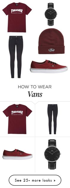 """skater"" by ella93700 on Polyvore featuring Paige Denim, Vans and Daniel Wellington"