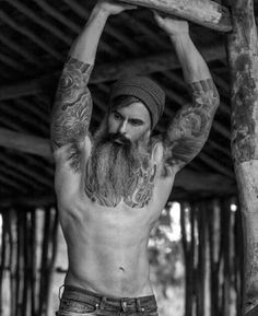 Providing premium moustache and beard grooming products for men. Beard Styles For Men, Hair And Beard Styles, Long Hair Styles, Hairy Men, Bearded Men, Poses Modelo, Sexy Tattooed Men, Bearded Tattooed Men, Estilo Hipster