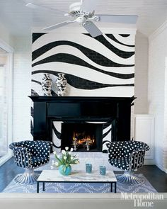 Black and white living room - FUN! The zebra is actually painted brick. Black And White Furniture, Black And White Living Room, Black And White Interior, Black White, White Zebra, White Chic, White Fireplace, Fireplace Design, Fireplace Wall