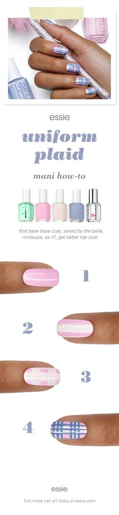 thought the 90s were over? as if! the new essie fall 2017 collection embodies the rebel spirit of the 1990s with nail colors that range from light baby pink to saturated dark purple. these nail polishes are perfectly on trend for the fall fashion season and will complement every outfit! rock this plaid nail art look with all your vintage denim, chokers, and 90s fashion!