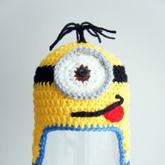 Minion Hat Despicable Me Crochet Baby Hat Baby by stylishbabyhats Crochet For Boys, Cute Crochet, Crochet Crafts, Crochet Baby Hats, Crochet Beanie, Yarn Crafts, Crochet Toys, Crochet Projects, Knit Crochet