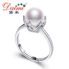 DAIMI 2017 New Trendy High Quality Queen's Ring 8mm Whit Pearl Ring Sterling-Silver-Jewelry Brand Jewelry Best Gift For Women