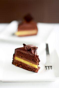 Orange chocolate cake - Biscuit sacher sponge in Grand Marnier syrup, orange choc mousse, orange cremeux, glacage choc noir & orange seches]