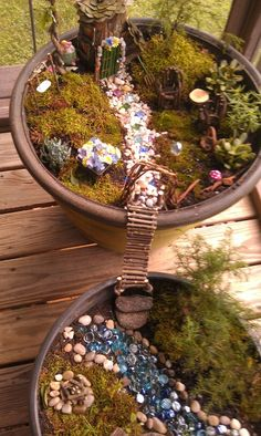 .Terry's fairy garden- the stones [usually used in vases] for the water are a great touch