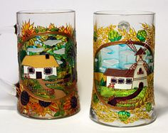 Ukraine Hand Painted Beer Stein - Custom Painted Beer Mug - Personalized Stain Glass - Decorative Traditional Mill Stein - House Sunflowers