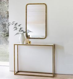 A beautiful modern console table with solid lines that make a real impact, it looks equally good in both a traditional and contemporary interior. Gold Furniture, Handmade Furniture, Table Centers, Center Table, Siena, Bedroom Alcove, Nordic Living Room, Living Rooms, Victorian Hallway