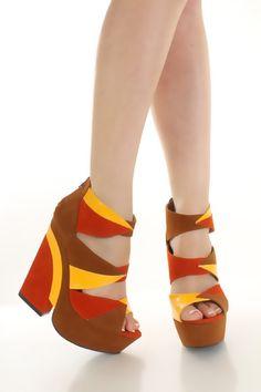colorblock platform chunky heels