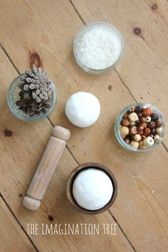 Invitation to play with coconut play dough and loose parts (this recipe is amazing!)