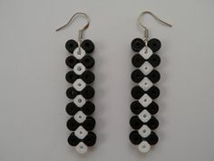 Hama Bead Black & White Icicle Earrings by ReInkOurNation on Etsy, $6.00