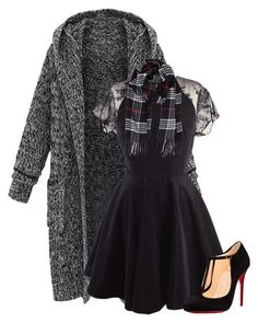 """Black & Plaid"" by jen-the-glader ❤ liked on Polyvore featuring Christian Louboutin and Humble Chic"