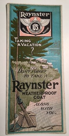 C1920 Advertising Blotter Raynster US Rubber Fishing Pole Hunting Gun Cabin Art