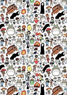 Kawaii Ghibli Doodle Art Print by KiraKiraDoodles on Etsy Hayao Miyazaki, Studio Ghibli Art, Studio Ghibli Movies, Wallpaper Animé, Trendy Wallpaper, Personajes Studio Ghibli, Studio Ghibli Characters, Anime Characters, Howls Moving Castle