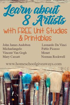 Learn About 8 Artists with FREE Unit Studies and Printables - Homeschool Giveaways study Learn About 8 Artists with FREE Unit Studies and Printables - Homeschool Giveaways History Lessons For Kids, History Projects, Art Lessons, Art Projects, Art Curriculum, Middle School Art, High School, Preschool Art, Kindergarten Art