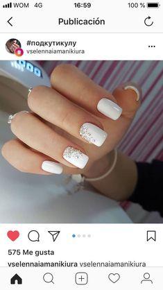 Nails ideas white polish 40 new ideas Nails ideas white polish 40 new ideas The best new nail polish Wedding Day Nails, Wedding Nails Design, Bride Nails, Prom Nails, Cute Acrylic Nails, Cute Nails, Milky Nails, Nagel Gel, Perfect Nails