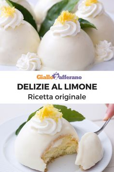 Lemon delights are a typical Campania dessert and this is Maestro Sal De Riso's original recipe: soft sponge cake domes hide a heart of lemon cream! Italian Cookies, Italian Desserts, Lemon Desserts, Mini Desserts, Easy Desserts, Italian Recipes, Bounty Torte, Mini Cakes, Cupcake Cakes