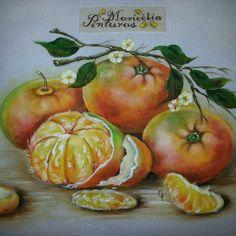 Tangerinas - Pintura em Tecido Maricelia Montanari Silva #mariceliapinturas