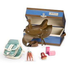 Jackson's Tack Box Girl Doll Clothes, Girl Dolls, Tack Box, Service Dog Training, Aqua Fabric, Our Generation Dolls, Baby Horses, Brown Trim, Clear Bags