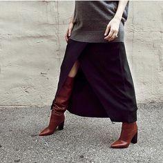 The rest of @angelafink's stellar #shoptilden look...shop this ultra-flattering stretchy-but-substantial @alc_ltd skirt (link in bio)