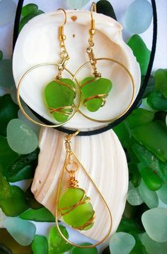 Hey, I found this really awesome Etsy listing at https://www.etsy.com/listing/467301600/spring-green-sea-glass-and-vibrant-gold